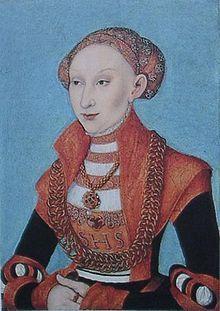 Sibylle von Jülich-Kleve-Berg um 1531, Porträt von Lucas Cranach des Älteren, in Privatbesitz Vrouw, Renaissance, Portret, Kunst, Mode, Schilderij