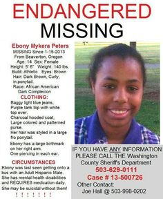 1/18/2013: EMERGENCY! Girl with mental capacity of ▬►five-year-old child missing from BEAVERTON... pinned with Pinvolve