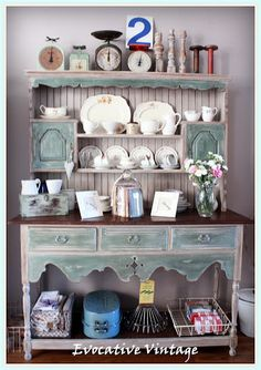 My biggest project to date and woo hoo , did it take me a while to complete? Working 9 to I am a weekend kinda project gal! Green Painted Furniture, Painted Chairs, Vintage Hutch, Shabby Vintage, Beach House Kitchens, Home Kitchens, Hutch Display, Painted Hutch, Dining Room Hutch