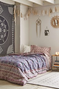 Plum & Bow Hazelle Snooze Set - Urban Outfitters Bohemian Bedroom :: Beach Boho Chic :: Home Decor + Design :: Free Your Wild :: See more Untamed Bedroom Style Inspiration Bohemian Bedrooms, Boho Room, Bohemian Curtains, Boho Chic Bedroom, Dream Rooms, Dream Bedroom, Home Bedroom, Bedroom Ideas, Bedroom Beach