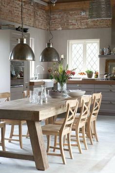 Cool 44 Cool Kitchen Dining Room Design And Decor Ideas To Try Asap Dining Nook, Dining Room Design, Dining Room Furniture, Dining Table, Dining Chairs, Kitchen Lamps, Kitchen Chairs, Kitchen Dining, Kitchen Island