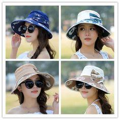 1ce5f49fbd6 Bow bucket hat for women UV flower sun hats summer wear