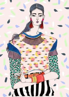 patternprints journal: WONDERFUL FASHION ILLUSTRATIONS WITH CRAZY PATTERNS BY JEREMY COMBOT