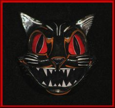 Evil like a Cat Halloween Friday The 13th, Halloween Cat, Spirit Halloween, Halloween Stuff, Gothic, Vintage Halloween Decorations, Danse Macabre, Like A Cat, Cat Wall