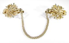 Gold Tone Sweater Guard Clip with Flower Cutout Design