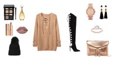 """""""Hockey game"""" by fashionbysteph ❤ liked on Polyvore featuring Urban Expressions, Alexandre Vauthier, FOSSIL, Christian Dior, Bobbi Brown Cosmetics, Charlotte Tilbury, rosegold, fur and polyvorefashion"""