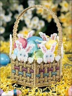 Plastic Canvas - Projects for the Home - Basket & Box Patterns - Peek-a-Boo-Bunnies Basket