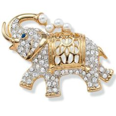 de2f02be7f1 PalmBeach Jewelry Round Simulated Pearl Crystal Accent Goldtone Elephant Pin  Palm Beach Jewelry