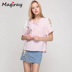 Magiray Striped Lace Applique Women Blouses Loose Plus Size Linen Summer Bow Tie Chemise Tops Cold Shoulder Female Blusas C516 #Affiliate