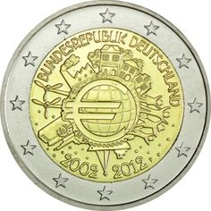 2 Euro CuNi 10 Jahre Euro Bargeld F UN