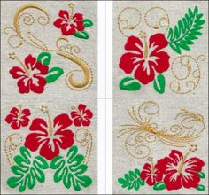 """""""Hibiscus Art"""" With 12 embroidery designs! This lovely set of 12 designs is bold, beautiful and perfect for adding tropical flair wherever you wish!"""