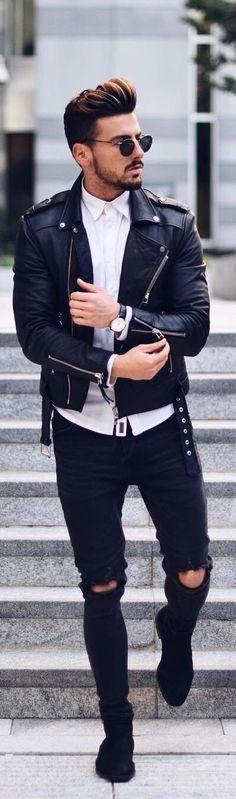 How to wear leather jacket men street styles ideas Brown Leather Jacket Men, Classic Leather Jacket, Leather Jacket Outfits, Vintage Leather Jacket, Lambskin Leather Jacket, Leather Men, Leather Jackets, How To Wear Flannels, Outfits Hombre