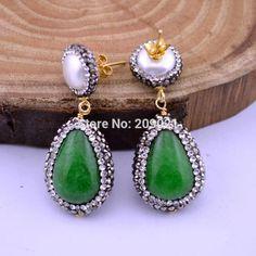 Beautiful 4Pairs Green Malaysian Jade Tear Drop Dangle Earring, With Pave Crystal Rhinestone Charm Jewelry Druzy Earrings