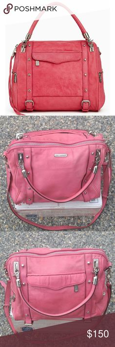 "Rebecca Minkoff Cupid Satchel (Pink) These pics DO NOT show the TRUE BEAUTY of this GORGEOUS ba VERY MINOR wear/tear & a lil fading on the long strap. Interior & silver toned in INCREDIBLE cond., except 1 spot inside, the size of a nickel. (see pic 7) Very slight corner rubbing, hardly noticeable. This beauty is for SALE, unless someone has it, or a similar bag, in Teal/Tiffany Blue. (Also looking for an XL ""beachy"" wedding dress. I welcome all questions & requests for more pictures! Don't…"