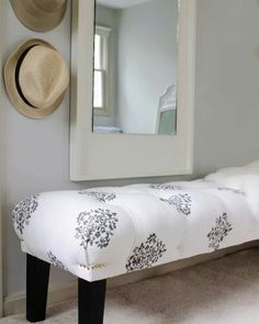 Do this with a coffee table for end of the bed bench and window seat