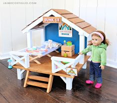 american girl doll crafts Free plans to build your own camp hangout for or American Girl dolls. Uses standard off the wood lumber and just a drill and brad nailer or staple American Girl Doll Sets, American Girl Crafts, American Girls, American Girl House, American Girl Bedrooms, All American Girl Dolls, Crafts For Girls, Diy For Girls, Baby Girls