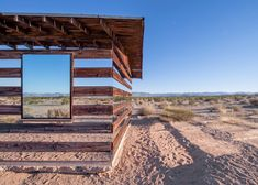 Lucid Stead installation by Phillip K Smith III gives the illusion of invisibility to a desert cabin - via dezeen