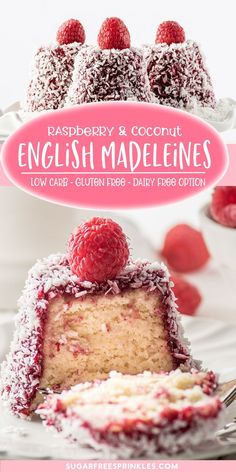 A fun low carb dessert recipe to make English madeleines. These pretty little cakes are sugar-free, gluten-free and have a dairy-free option. Pretty little low carb cakes are rolled and dipped in sugar-free raspberry jam and coconut. Sugar Free Desserts, Low Carb Desserts, Healthy Dessert Recipes, Keto Recipes, Diabetic Snacks, Flour Recipes, Dairy Free Cakes, Low Sugar Cakes, Madeleine Cake