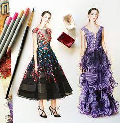 Marchesa fashion illustration by @doll_memories