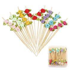 "Amazon.com | Rose Flower Appetizer Skewers Cocktail Picks Long Bamboo Toothpicks in Clear Storage Box Wedding Valentines Day Single Bachelorette Party Food Drinks Desserts Fruits Decor 4.7"" 100 Counts-MSL119: Cocktail Picks"