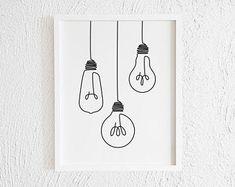 one line tattoo Lightbulb Doodle Print. Printable Minimalist Light bulb Drawing Interior Home Decor. One Line Electric Light Illustration Wall Art. Light Bulb Drawing, Light Bulb Art, Art Pariétal, Art Minimaliste, Minimal Art, Drawing Interior, Minimalist Drawing, Minimalist Painting, Art Deco Posters