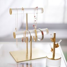 Ava Frosted Acrylic Double Bar Jewelry Stand, Clear Frosted - metallic/gold - Storage & Decor - Jewelry + Beauty Organizers - Pottery Barn Teen - New Ideas Clean Gold Jewelry, Dainty Jewelry, Bridal Jewelry, Beaded Jewelry, Jewelry Bracelets, Antique Jewelry, Zales Jewelry, Teen Jewelry, Fashion Jewelry