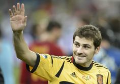 Spanish goalkeeper Iker Casillas celebrates after the Euro 2012 football championships final match Spain vs Italy on July 1, 2012 at the Olympic Stadium in Kiev.