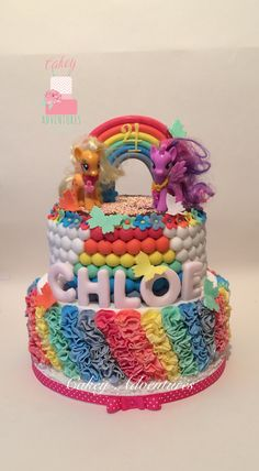 My little pony rainbow cake with rainbow ruffles.