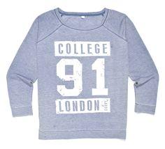błękitna bluza sportowa z nadrukiem COLLEGE 91 LONDON