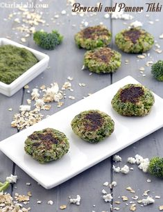 Broccoli and Paneer Tikki ( Healthy Starter) recipe In Gujarati Low Calorie Starters, Healthy Starters, Vegetarian Starters, Baby Food Recipes, Indian Food Recipes, Diet Recipes, Cooking Recipes, Snack Recipes, Vegetarian Recipes