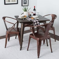 Brushed Copper Tabouret Stacking Chairs (Set of 4)