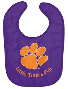 Your favorite young Clemson Tigers fan can't help but get messy while eating. This spirited Clemson Tigers Lil Fan All Pro baby bib from WinCraft will keep him or her looking neat during meal time. It features a festive Clemson Tigers graphic on the front Clemson Logo, Clemson Tigers, All Pro, Nba Merchandise, Old Logo, Baby Bibs, Nfl, Infant, Fabric
