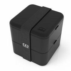 MonBento Bento Box kwadratowy 2-komorowy czarny