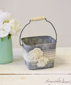Items similar to Flower Girl Basket Galvanized Tin Burlap Lace Paper Roses (Item Number on Etsy Dream Wedding, Wedding Day, Wedding Stuff, Hay Wedding, Jamaica Wedding, Wedding Shit, Spring Wedding, Wedding Bells, Wedding Reception