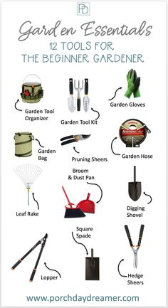 Do you have a new home and garden, but no idea of what garden tools you need. Here are the 12 must have garden tools for the beginner landscaper and garden. Plus some upgraded tools for landscaping if you have been doing this a while! | Porch Daydreamer Gardening Supplies, Gardening Tools, Gardening Services, Vegetable Gardening, Organic Gardening, Diy Garden, Home And Garden, Garden Ideas, Garden Tool Set
