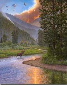Red Skies Over Rock Creek - Missoula- home of the Smoke Jumpers
