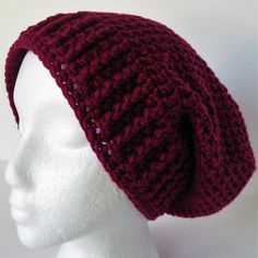 SOLD November 10, 2017!!!  Womens Crochet Slouchy Beanie Hat Boysenberry Red Teen Large Oversized Soft Warm Gift for Women Machine Washable and Dryable Ready to Ship by SoftHeartCrochet on Etsy