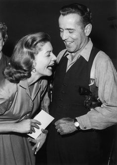 Lauren Bacall, laughing it up with Humphrey Bogart