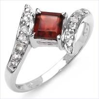 CHARMING 1.03 CTW GARNET & WHITE TOPAZ CROSSOVER RING SET IN SOLID 925 SS~SZ. 7~JANUARY'S B/STONE!