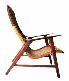 Early Antique Danish Hans Wegner attributed Lounge Chair, Cane & Teak #DanishMidCentury