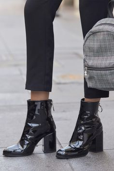 34a941da549 Faya Black Patent Leather Mid-Calf Boots