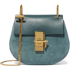 Chloé Drew mini leather and suede shoulder bag featuring polyvore, fashion, bags, handbags, shoulder bags, borse, petrol, mini shoulder bag, genuine leather shoulder bag, leather shoulder bag, shoulder strap bag and blue suede handbag