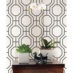 Brewster Circuit Black Modern Ironwork Wallpaper