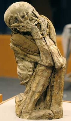 The most famous screaming mummy is Unknown Man E, an Egyptian mummy found in 1886, who could be the murderous son of Ramses III. Description from pinterest.com. I searched for this on bing.com/images