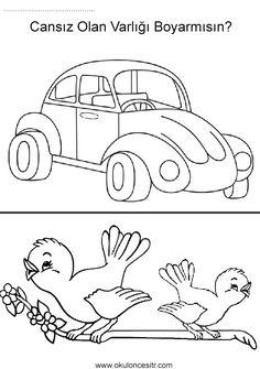 Canlı cansız kavramı çalışmaları sayfası, tosba araba ve kuşlardan canlı cansız kavramları etkinlikleri ve örnekleri sayfaları resmi, zıt kavramlar çalışması etkinliği örneği, living and nonliving worksheets, opposite concepts and coloring pages printables bilgisayara indir ve çıktı alma sitesi.