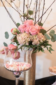 """French tulips, pink """"Geraldine"""" roses, hydrangea, blooming quince. Flowers by Native Flower Company for Utah Fashion Week kickoff party."""