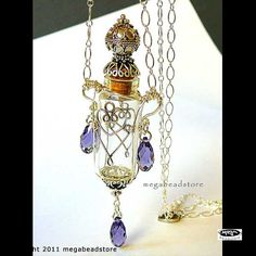 Perfume Bottle Glass Vial Pendant Necklace Wire by MegaBeadStore
