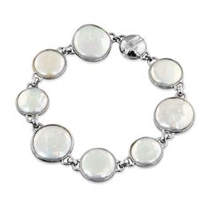 Honora White Baroque Coin Pearl with Rock Crystal Bracelet