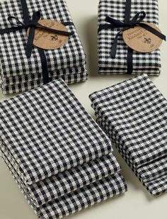 Black Check Heavyweight Dishcloths and Kitchen Towels(Sets of 3)