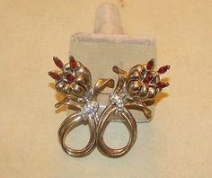 Vintage Sterling Coro Duette Pin Floral